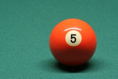 Pool ball number 05. In pool table royalty free stock image