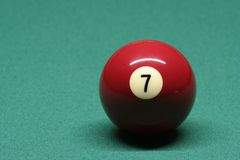 Pool ball number 07. In pool table royalty free stock photos