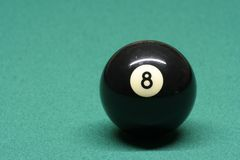 Pool ball number 08. In pool table royalty free stock images