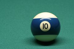 Pool ball number 10. In pool table royalty free stock image