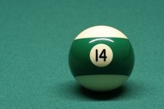 Pool ball number 14. In pool table stock images