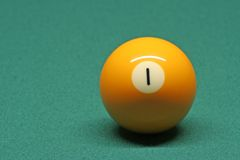 Pool ball number. 01 in pool table royalty free stock photos