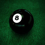 Pool ball number eight. On green table Stock Illustration