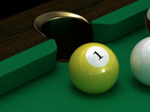 Pool ball number one. This is pool ball. Usable for catalogue or sports journals Royalty Free Stock Photography