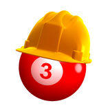 Pool ball with safety helmet Royalty Free Stock Photo