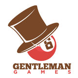 Pool ball in top hat. Vector illustration of gentleman games logo with pool ball in top hat Stock Illustration