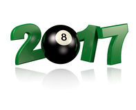 Pool ball 2017 with a White Background Royalty Free Stock Photos