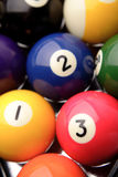 Pool balls. Closeup of pool balls, one two three Royalty Free Stock Photos