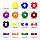 Pool Balls. Complete set of pool balls. Available in jpeg and eps8 format Royalty Free Stock Photography
