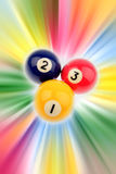 Pool balls. Three pool balls on colorful background Royalty Free Stock Image