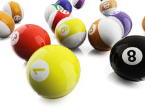 Pool balls. 3d illustration on white background Royalty Free Stock Photo