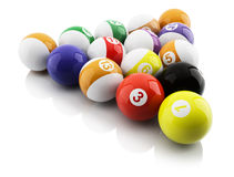 Pool balls. 3d illustration on white background Stock Images