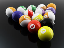 Pool balls. 3d illustration on black background Stock Photography