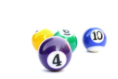 Pool balls. Four coloured billiard or pool balls isolated on a white background Royalty Free Stock Image