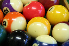 Pool balls. On green pool table Royalty Free Stock Photos