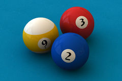 Pool balls. Three pool balls on a blue billiard table (3D rendering royalty free illustration
