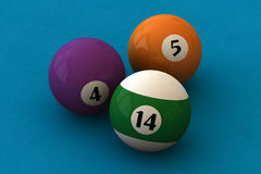 Pool balls. Three pool balls on a blue billiard table (3D rendering Royalty Free Stock Image