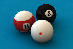 Pool balls. Three pool balls on a blue billiard table (3D rendering Royalty Free Stock Photos