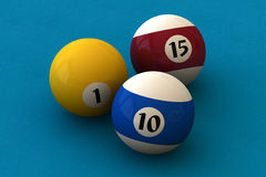 Pool balls. Three pool balls on a blue billiard table (3D rendering Stock Images
