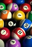 Pool balls. 3D rendering of colorful pool balls (shallow DOF - focus on the 8 ball Royalty Free Stock Images