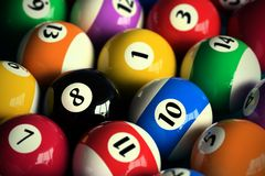 Pool balls. 3D rendering of colorful pool balls (shallow DOF - focus on the 8 ball stock illustration