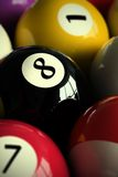 Pool balls. 3D rendering of colorful pool balls (shallow DOF - focus on the 8 ball Stock Photos