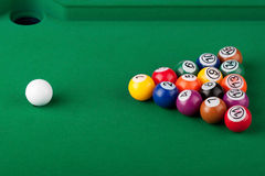Pool Balls. Extreme closeup Pool Balls on a green table Royalty Free Stock Images