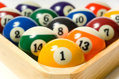 Pool balls. In rack  - focus on the one ball Royalty Free Stock Image