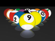 Pool balls. High quality 3D rendering of colorful pool balls Royalty Free Stock Photo