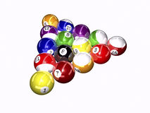 Pool balls - 3D. Pool balls on white background 3D illustration Royalty Free Stock Photo
