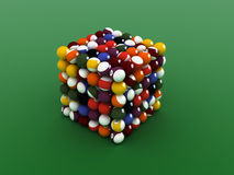 Pool balls. Cube shaped  pool balls. close up billiard balls Stock Photography