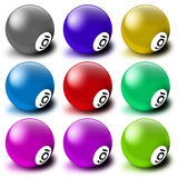 Pool balls. Set of pool balls, each of different color and showing a six stock illustration