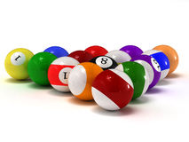 Pool balls. This is pool balls. Usable for catalogue or sports journals Stock Photography