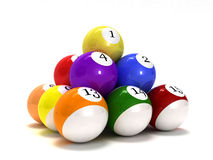 Pool balls. This is pool balls. Usable for catalogue or sports journals royalty free stock photography