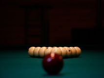 Pool balls. A few pool balls in a billiard table Royalty Free Stock Photography