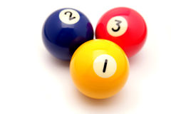 Pool balls. Three pool balls on white Royalty Free Stock Photography