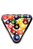 Pool balls. In triangle on white Stock Image