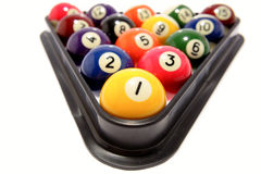 Pool balls. In triangle in white background Stock Photo