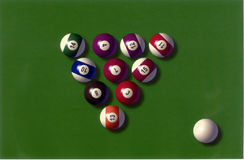 Pool balls. On green baize Royalty Free Stock Images