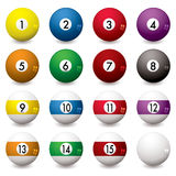 Pool balls. Collection of pool balls numbered from one to fifteen with shadow Royalty Free Stock Photo