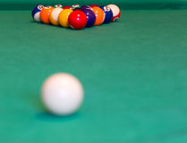 Pool balls on baize table Stock Images