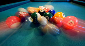 Pool Balls Breaking. Photo of Pool Balls Breaking royalty free stock photo