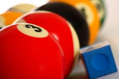 Pool Balls and Chalk Royalty Free Stock Images