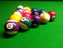 Pool balls. Close up of pool ball set on the pool table Stock Photo