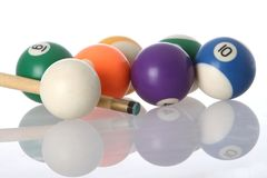 Pool Balls and Cue. Pool balls and end of cue with reflection Stock Photo