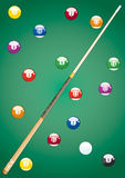 Pool balls and Cue. (end of party Royalty Free Stock Photo