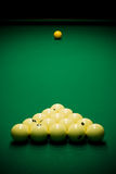 Pool balls and cue stock image