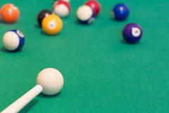 Pool balls with cue Stock Images