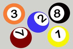 Pool balls. Five color pool balls 2D drawing. different sides Royalty Free Stock Photos