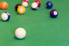 Pool balls on green Stock Photography